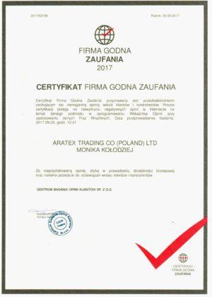Certyfikat - firma godna zaufania 2017